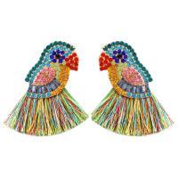 Zinklegierung Troddel Ohrring, mit Polyester & Strass, für Frau, farbenfroh, frei von Nickel, Blei & Kadmium, 50x65mm, verkauft von Paar