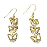 Edelstahl Tropfen Ohrring, mit Strass, Schmetterling, goldfarben plattiert, für Frau, 12.5x12mm,54mm, verkauft von Paar