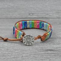 Impression Jaspis Armband, mit PU Leder, rund, unisex, Länge:6.5 ZollInch, verkauft von PC
