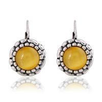 Zinklegierung Tropfen Ohrring, mit Katzenauge, für Frau, gelb, frei von Nickel, Blei & Kadmium, 13x13mm, verkauft von setzen