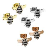Edelstahl Ohrringe, mit Ton, plattiert, für Frau, keine, 12.50x8mm, verkauft von Paar