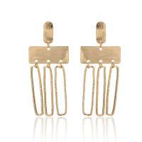 Zinklegierung Tropfen Ohrring, Rechteck, goldfarben plattiert, für Frau, frei von Nickel, Blei & Kadmium, 73mm, verkauft von Paar