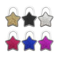 Art und Weisebeutel Aufhänger, Zinklegierung, mit Kunststoff, Stern, silberfarben plattiert, keine, 70x10x45mm, 5PCs/Menge, verkauft von Menge