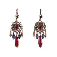 Zinklegierung Ohrringe, für Frau & mit Strass, goldfarben, frei von Nickel, Blei & Kadmium, 71mm, verkauft von Paar