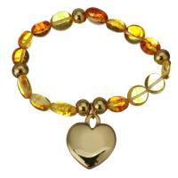 Edelstahl Schmuck Armband, mit Naturstein, Herz, goldfarben plattiert, Armband  Bettelarmband & für Frau, 22x26mm,8-10x9-12mm, verkauft per ca. 7 ZollInch Strang