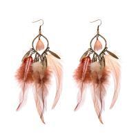 Feder Tropfen Ohrring, mit Zinklegierung, für Frau, braun, frei von Nickel, Blei & Kadmium, 150mm, verkauft von Paar