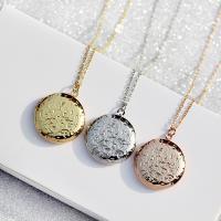 Messing Medaillon-Halskette, flache Runde, unisex, keine, frei von Nickel, Blei & Kadmium, 27x27mm, verkauft per ca. 15.7 ZollInch Strang
