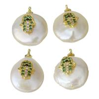 Edelstahl Schmuck Anhänger, mit Perlen, goldfarben plattiert, Micro pave Zirkonia, 12.5-14x17.5-18.5x7-8.5mm, Bohrung:ca. 1.5mm, 5PCs/Menge, verkauft von Menge