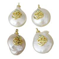 Edelstahl Schmuck Anhänger, mit Perlen, goldfarben plattiert, Micro pave Zirkonia, 12.5-13.5x18-19.5x8-9mm, Bohrung:ca. 1.5mm, 5PCs/Menge, verkauft von Menge