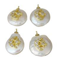 Edelstahl Schmuck Anhänger, mit Perlen, goldfarben plattiert, Micro pave Zirkonia, 12.5-15x17.5-19.5x7-7.5mm, Bohrung:ca. 1.5mm, 5PCs/Menge, verkauft von Menge