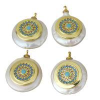 Edelstahl Schmuck Anhänger, mit Perlen, goldfarben plattiert, Micro pave Zirkonia, 14.5-16x18-20x5.5-7mm, Bohrung:ca. 1.5mm, 5PCs/Menge, verkauft von Menge