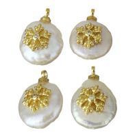 Edelstahl Schmuck Anhänger, mit Perlen, goldfarben plattiert, Micro pave Zirkonia, 11-11.5x15-17x5.5-7mm, Bohrung:ca. 1.5mm, 5PCs/Menge, verkauft von Menge