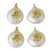 Edelstahl Schmuck Anhänger, mit Perlen, goldfarben plattiert, Micro pave Zirkonia, keine, 11-13.5x15.5-21.5x5-8.5mm, Bohrung:ca. 1.5mm, 5PCs/Menge, verkauft von Menge