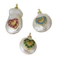 Edelstahl Schmuck Anhänger, mit Perlen, Herz, goldfarben plattiert, Micro pave Zirkonia, keine, 11.5-13.5x15-31x6-8mm, Bohrung:ca. 1.5mm, 5PCs/Menge, verkauft von Menge