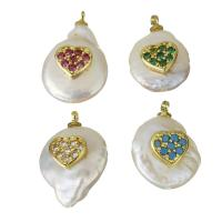 Edelstahl Schmuck Anhänger, mit Perlen, goldfarben plattiert, Micro pave Zirkonia, keine, 12-13.5x15.5-25x6-10mm, Bohrung:ca. 1.5mm, 5PCs/Menge, verkauft von Menge