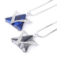 Zinklegierung Schmuck Halskette, mit Edelstein, Dreieck, plattiert, für den Menschen, keine, frei von Nickel, Blei & Kadmium, 45x39x10mm, Länge:30 ZollInch, verkauft von PC