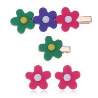 Zinklegierung Schmucksets, mit Kunststoff, Blume, verschiedene Stile für Wahl & für Frau, frei von Nickel, Blei & Kadmium, 2.3cm*8cm,2.3cm*3cm,2.3cm*2.3cm, verkauft von setzen