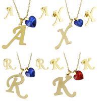 Edelstahl Schmucksets, Halskette, mit Glas, goldfarben plattiert, Oval-Kette & verschiedene Stile für Wahl & für Frau, Länge:ca. 17.5 ZollInch, verkauft von setzen