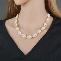 Muschel Halskette, mit Leder, für Frau, keine, 16mm, verkauft per ca. 35 Strang