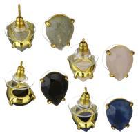 Gemischte Edelstein Anhänger, Messing, mit Edelstein, goldfarben plattiert, für Frau, 11.50x13.50mm, verkauft von Paar