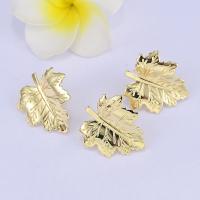 Messing Ohrring Stecker, Ahornblatt, vergoldet, DIY & mit Schleife, frei von Nickel, Blei & Kadmium, 14mm, 10PCs/Menge, verkauft von Menge