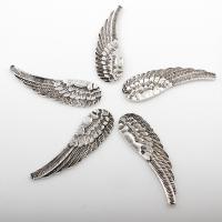 Flügel Zinklegierung Anhänger , Flügelform, antik silberfarben plattiert, frei von Nickel, Blei & Kadmium, 17*58mm, Bohrung:ca. 2mm, 2Taschen/Menge, ca. 81PCs/Tasche, verkauft von Menge