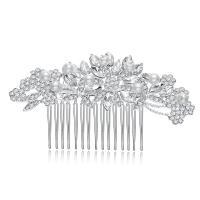 Dekoratives Haarkämmchen, Zinklegierung, mit Kunststoff Perlen, plattiert, für Frau & mit Strass, keine, frei von Nickel, Blei & Kadmium, 102x60mm, verkauft von setzen