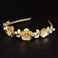 Braut Haarband, Zinklegierung, mit Kunststoff Perlen, goldfarben plattiert, für Braut & mit Strass, frei von Nickel, Blei & Kadmium, 120x30mm, verkauft von setzen