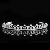 Krone, Zinklegierung, mit Kunststoff Perlen, silberfarben plattiert, für Braut & mit Strass, frei von Nickel, Blei & Kadmium, 160x18mm, verkauft von setzen