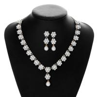 Zinklegierung Mode Schmuckset, Ohrring & Halskette, mit Muschelkern, plattiert, für Braut & mit Strass, keine, frei von Nickel, Blei & Kadmium, 42x7cmuff0c1.2x7.3cm, verkauft von setzen