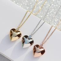 Messing Medaillon-Halskette, Herz, für Frau, keine, frei von Nickel, Blei & Kadmium, 19x20mm, verkauft per ca. 15.7 ZollInch Strang