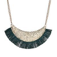 Zinklegierung Franse Halskette, mit Polyester, Zinklegierung Karabinerverschluss, goldfarben plattiert, Bohemian-Stil & für Frau, keine, 95mm, verkauft per ca. 16 ZollInch Strang