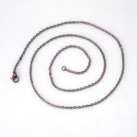 Halskette, Edelstahl, plattiert, unisex & verschiedene Größen vorhanden, regenbogenfarben, 10SträngeStrang/Tasche, verkauft von Tasche