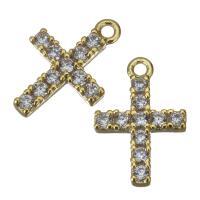 Messing Kreuz Anhänger, Micro pave Zirkonia, Goldfarbe, frei von Nickel, Blei & Kadmium, 8x12x2mm, Bohrung:ca. 1mm, ca. 50PCs/Menge, verkauft von Menge