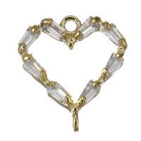 Messing Herz Anhänger, mit kubischem Zirkonia, Goldfarbe, frei von Nickel, Blei & Kadmium, 11.50x13x2.50mm, Bohrung:ca. 1mm, ca. 50PCs/Menge, verkauft von Menge