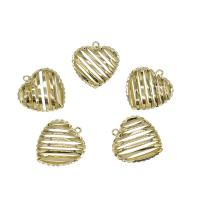 Messing Herz Anhänger, goldfarben plattiert, hohl, frei von Nickel, Blei & Kadmium, 20x22mm, Bohrung:ca. 0.8mm, 30PCs/Tasche, verkauft von Tasche