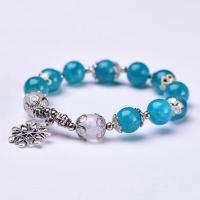Natürliches Amazonite Bracelets, Amazonit, mit Zinklegierung, silberfarben plattiert, poliert & für Frau, blau, 10mm, verkauft per ca. 6 ZollInch Strang