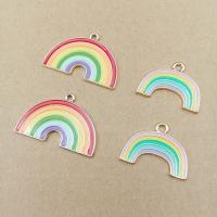 Zink-Legierung-Emaille-Anhänger, Zinklegierung, Regenbogen, goldfarben plattiert, verschiedene Stile für Wahl, frei von Nickel, Blei & Kadmium, Bohrung:ca. 2mm, 20PCs/Tasche, verkauft von Tasche