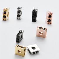 Befestigte Zirkonia Perlen, Messing, DIY & Micro pave Zirkonia, keine, frei von Nickel, Blei & Kadmium, 3x8mm, Bohrung:ca. 3.2mm, ca. 6PCs/Menge, verkauft von Menge