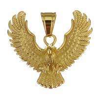 Edelstahl Tieranhänger, Adler, goldfarben plattiert, 38x36x10mm, Bohrung:ca. 7x8.5mm, verkauft von PC