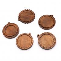 Holz Anhänger Cabochon Einstellung, verschiedene Stile für Wahl, braun, Internal Diameter 30mm, Innendurchmesser:ca. 30mm, 10PCs/Tasche, verkauft von Tasche