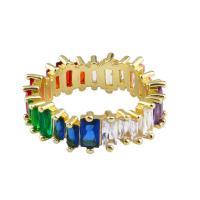 Kubische Zro2-Micro Pave Messingring, Messing, verschiedene Größen vorhanden & Micro pave Zirkonia & für Frau, goldfarben, frei von Nickel, Blei & Kadmium, 24x24mm, Größe:5-8, verkauft von Paar