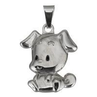Edelstahl Tieranhänger, Hund, originale Farbe, 24x30x5mm, Bohrung:ca. 5x7.5mm, verkauft von PC