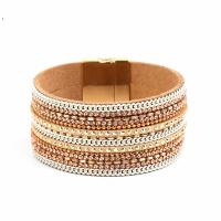 Wrap Armband , PU Leder, mit Baumwollsamt & Magnet & Messingkette, rund, mehrschichtig & für Frau & mit Strass, keine, verkauft per ca. 7 ZollInch Strang