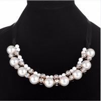 Plastik-Perlenkette, Zinklegierung, mit ABS-Kunststoff-Perlen & Organza & Acryl, goldfarben plattiert, mit Strass, frei von Nickel, Blei & Kadmium, 400mm, verkauft per ca. 15.5 ZollInch Strang