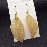 Eisen Tropfen Ohrring, Blatt, plattiert, für Frau, keine, frei von Nickel, Blei & Kadmium, 57x26mm, verkauft von Paar