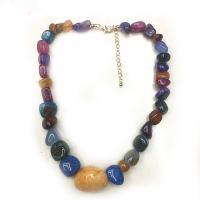 Edelstein Schmuck Halskette, Zinklegierung Karabinerverschluss, poliert, für Frau, farbenfroh, 8mm, verkauft per ca. 19.6 ZollInch Strang