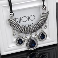 Kristall Zinklegierung Halskette, mit PU Leder & Kristall, Zinklegierung Karabinerverschluss, silberfarben plattiert, Folk-Stil & Micro pave Strass & für Frau, keine, verkauft per ca. 21 ZollInch Strang