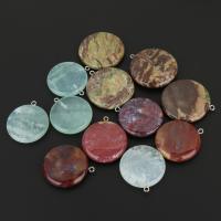 Naturstein Anhänger, mit Achat & Messing, silberfarben plattiert, natürliche & gemischt, 30-35x33-38x5-7mm, Bohrung:ca. 2mm, 10PCs/Menge, verkauft von Menge