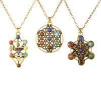Edelstein Schmuck Halskette, Zinklegierung, mit Naturstein, plattiert, unisex, keine, frei von Nickel, Blei & Kadmium, 850-880mm, verkauft per 23.6 ZollInch Strang